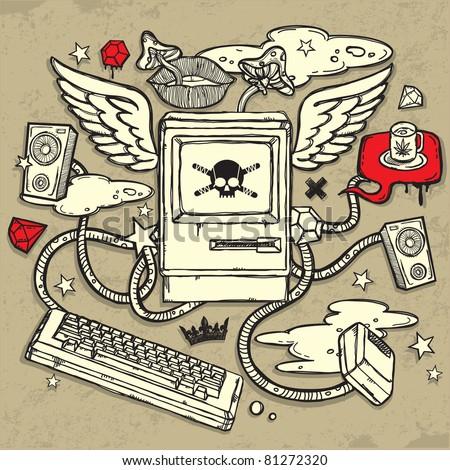 Dangerous Computer Design - stock vector