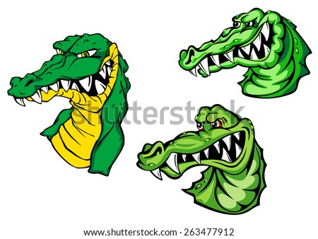 Dangerous crocodiles or alligators cartoon characters depicting heads of green reptiles with aggressive bared teeth isolated on white background for mascot or childish decor design  - stock vector