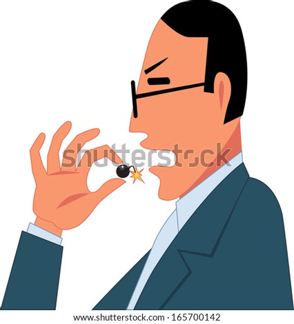 Dangerous drugs. Man taking a pill, shaped like a tiny bomb with a burning fuse, vector illustration - stock vector