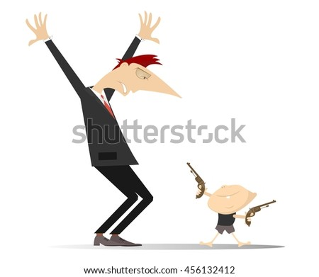 Dangerous game. Little boy is aiming the gun to confused man with hands up  - stock vector