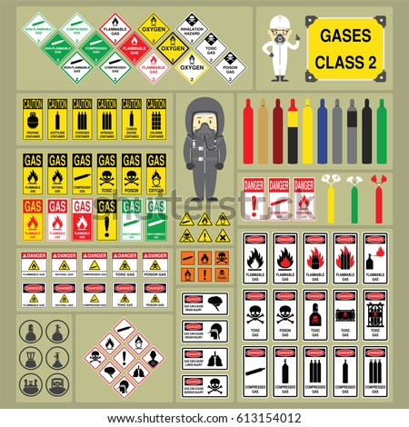 Dangerous Goods Hazardous Materials Set Signs Stock Vector 2018