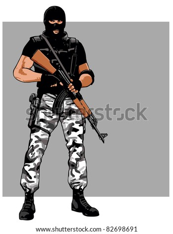 Dangerous guardsman with AK-47 rifle and balaclava - stock vector
