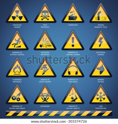 Dangerous hazard and other warning signs set isolated vector illustration - stock vector