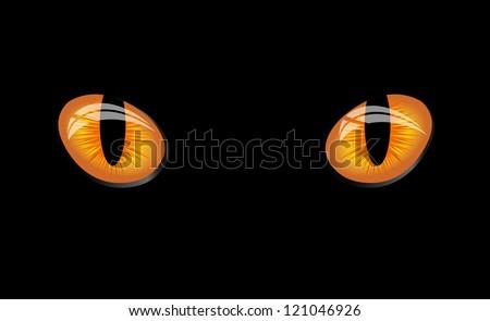 Dangerous wild wat eyes on black background, vector Illustration - stock vector