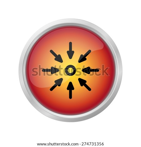 dangerously high blood pressure sign icon on red button - stock vector
