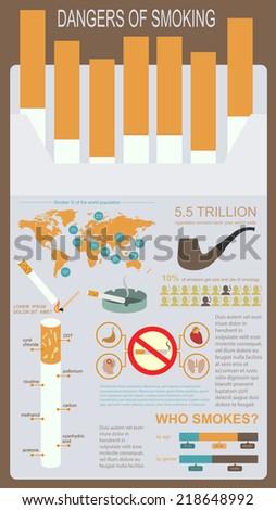Dangers of smoking, infographics elements. Vector illustration - stock vector