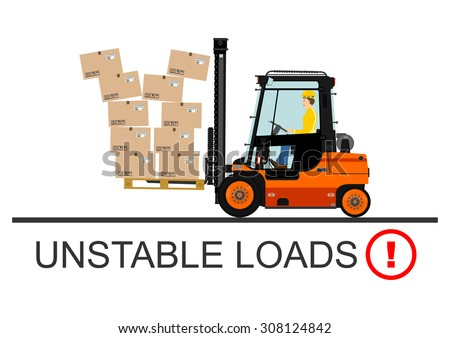 Dangers of working with a forklift truck. Vector. - stock vector