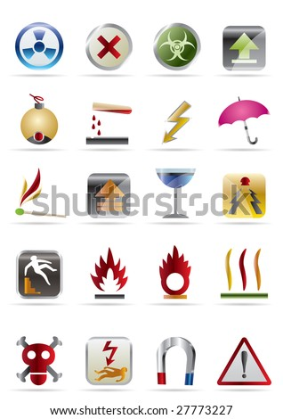 Dangers Signs - Vector  Icon Set - stock vector