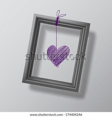 dangles realistic black photo frame, vector illustration  - stock vector