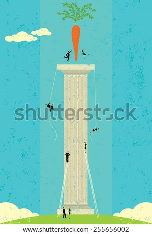Dangling a Carrot Business people climbing and reaching for the dangling carrot. The people, carrot, and column are on a separate labeled layer from the background. - stock vector