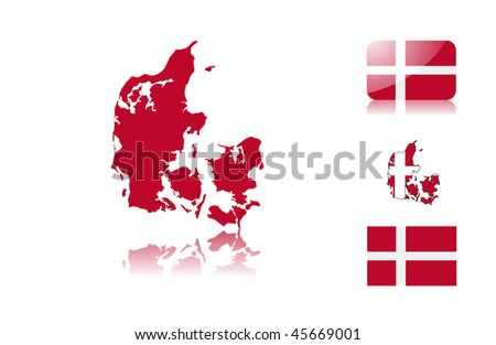 Danish  map including: map with reflection, map in flag colors, glossy and normal flag of Denmark. - stock vector