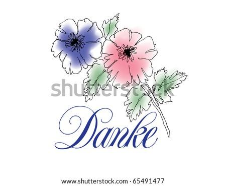 Danke Vector Lettering with floral Illustration - stock vector