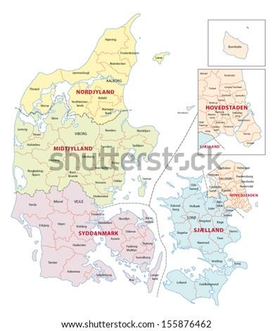 danmark administrative map - stock vector