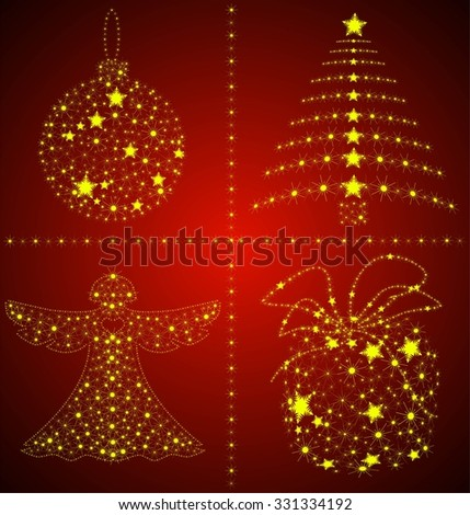 Dark abstract background with glowing christmas elements - stock vector