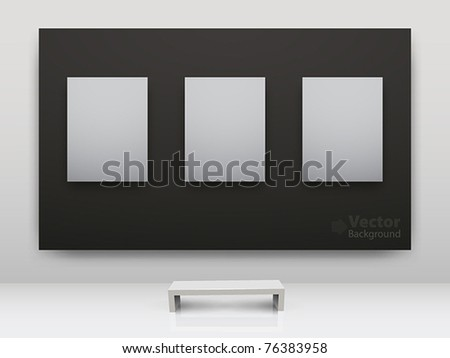 Dark and light gallery Interior with empty frames on wall - stock vector