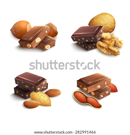 Dark and milk chocolate with nuts realistic set isolated vector illustration - stock vector