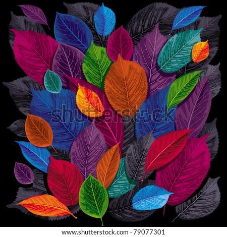 Dark autumn leaves on black background - stock vector