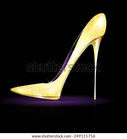 dark background and the golden ladys shoe-spiky - stock vector