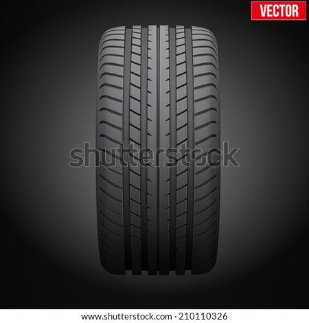 Dark background Realistic rubber tire symbol. Front view. Vector Illustration - stock vector