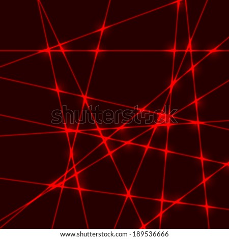 Dark background with red beams from laser light with glow ...