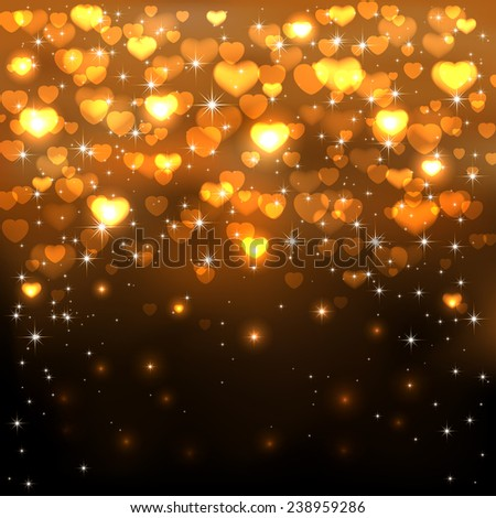 Dark background with shiny golden hearts and stars, illustration. - stock vector