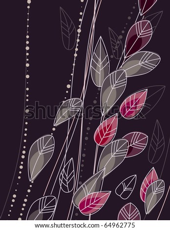 Dark background with stylized contour flowers - stock vector