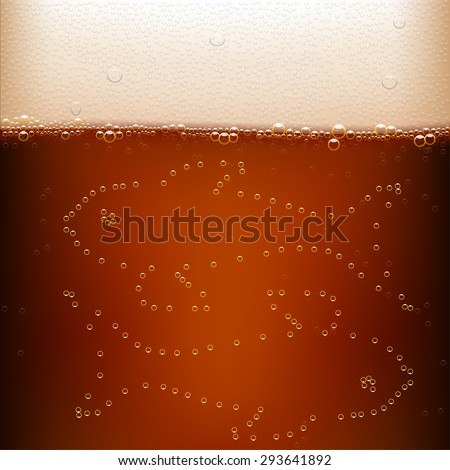 dark beer background with fish from bubbles - stock vector