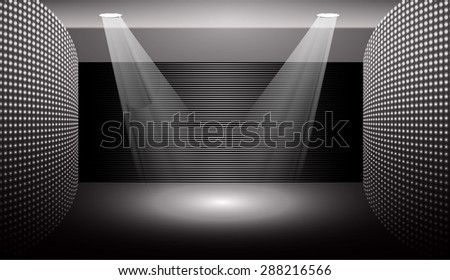 Dark black Abstract light lamps background for Technology computer graphic website internet and business.. Screen on stage. Vector illustration.Spot Effect. neon. point, platform, Spotlights - stock vector