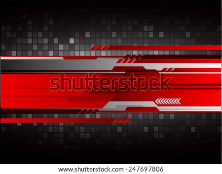 Dark black red Light Abstract Technology background for computer graphic website internet. circuit. - stock vector