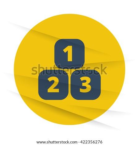 Dark 123 Blocks icon label on wrinkled paper - stock vector