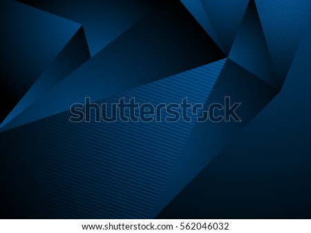Dark blue abstract concept polygonal tech background. Vector digital art design eps 10