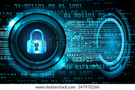 dark blue Abstract digital conceptual technology security background with lock. computer technology website internet web. infographics. key - stock vector