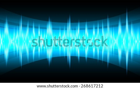 dark blue abstract digital sound wave background. Light Technology background for computer graphic website internet. - stock vector