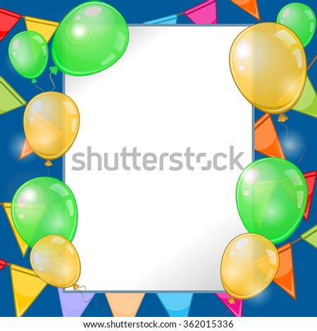 Dark blue background with colorful balloons and buntings - stock vector