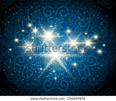 Dark blue background with shining stars against see through swirls pattern - stock vector