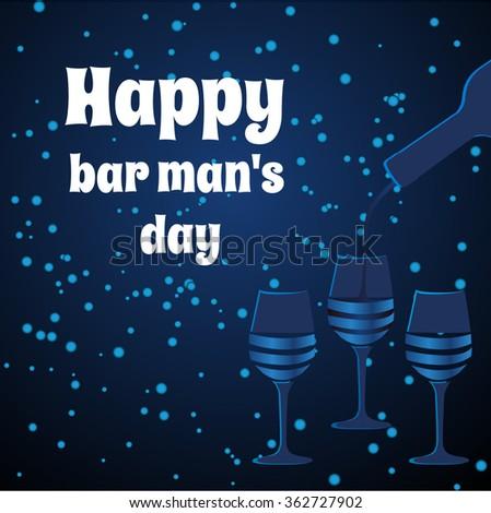 Dark blue bartender's Day card. Vector three glasses. - stock vector