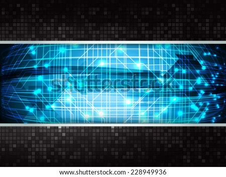 Dark blue color Light Abstract pixels Technology background for computer graphic website internet. circuit board. text box