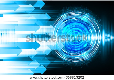 Dark blue color Light Abstract Technology background for computer graphic website internet and business. circuit. vector illustration. infographics. motion move blur.neon. pixel. eye. scan virus - stock vector