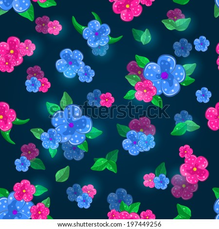 Dark Blue Floral Seamless Pattern with Pink Flowers and  Leaves - stock vector