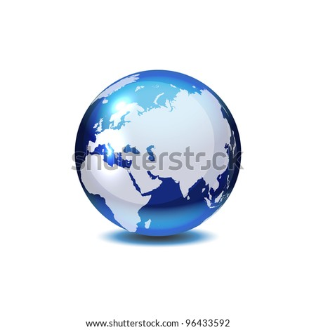 Dark blue globe with shadow on white, vector illustration, eps 10, 8 layers, easy editable.