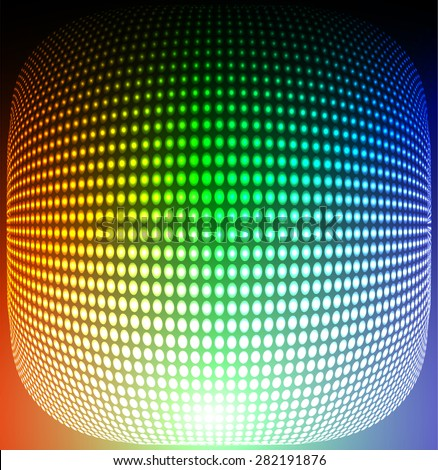 Dark blue green orange Abstract light lamps background for Technology computer graphic website internet and business.. Screen on stage. Vector illustration. Spot Effect. neon. point. dot - stock vector