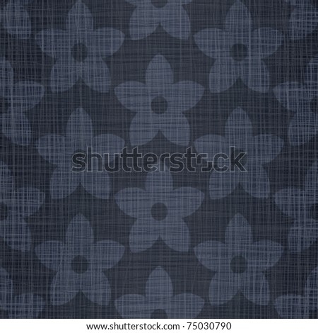 Dark blue jeans linen cotton fabric with drawing flowers - stock vector