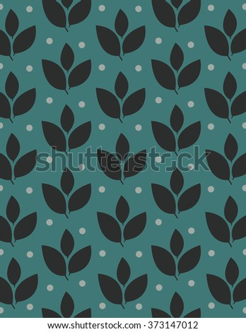 Dark blue leaf repeating pattern over green background - stock vector