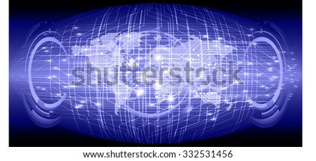 dark blue Light Abstract Technology background for computer graphic website internet and business circuit illustration digital infographics binary code. Global. World map