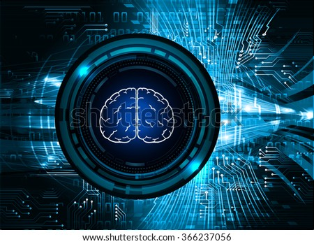 Dark blue Light Abstract Technology background for computer graphic website internet business, circuit, vector illustration, infographics, motion, neon. Brainstorm, brain, bulb Ideas - stock vector