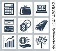 Dark blue money icons vector set - stock