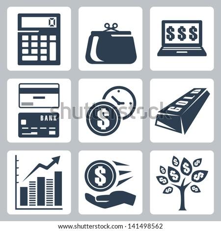 Dark blue money icons vector set - stock vector