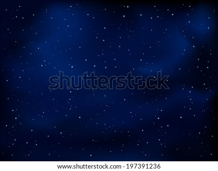 Dark blue night sky with stars, illustration. - stock vector