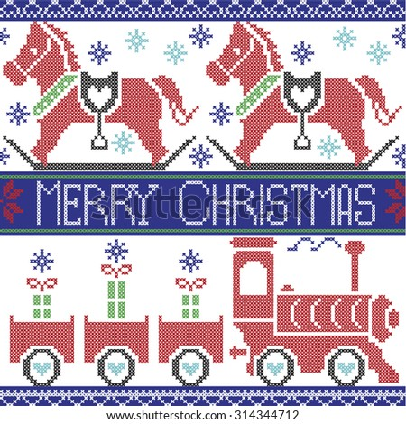 Dark blue, red , light blue, black , red and green Merry Christmas Scandinavian seamless Nordic pattern with gravy train, Xmas gifts, hearts, rocking  pony horse, stars, snowflakes in cross stitch   - stock vector