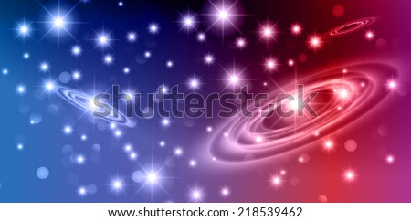 Dark blue red sparkling background with stars in the sky and blurry lights, illustration. Abstract, Universe, Galaxies, ring.  - stock vector